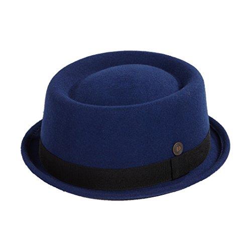 DASMARCA Jack Blu Feltro delle Lane Inverno Porkpie Hat - S