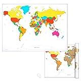Navaris Weltkarte Landkarte zum Rubbeln - 82 x 59 cm