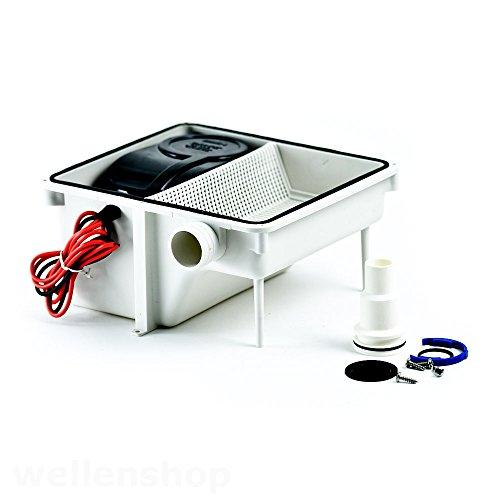 wellenshop Entwässerungssystem für Bootsdusche mit 12 Volt Abwasser-Pumpe 2255 l/h