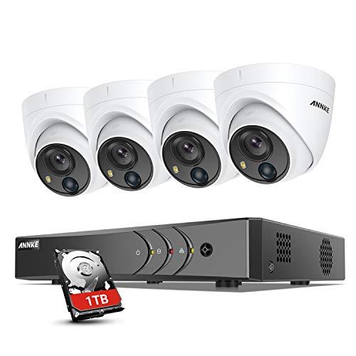 ANNKE 5MP Super HD 8 Kanal Überwachungskamera Set, 5MP Video Überwachungssystem mit 4X 5MP IP67 PIR Dome Kameras, 8CH H,265 Pro+ DVR Rekorder mit 1TB HDD, Visueller Alarm,30M EXIR Nachtsicht