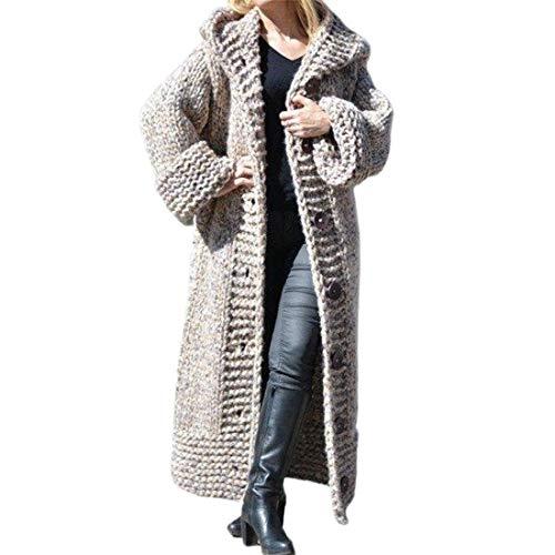 Vertvie Pull Gilet Long Femme en Tricot Cardigan Veste Ouvert Manches Longues Pullover Chaud Casual Grosse Maille Manteau avec Capuche Épais Sweater Hiver Chandail Outwear (Gris,L)