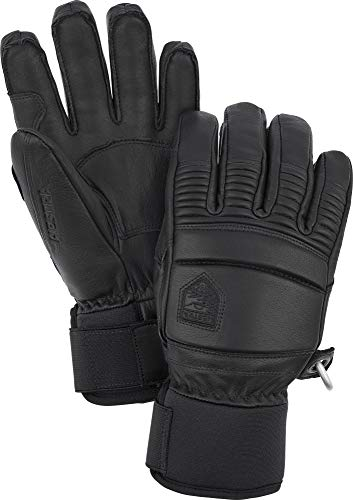 Hestra Leather Fall Line - Short Freeride 5-Finger Snow Glove with Superior Grip for Skiing, Snowboarding and Mountaineering - Black - 9
