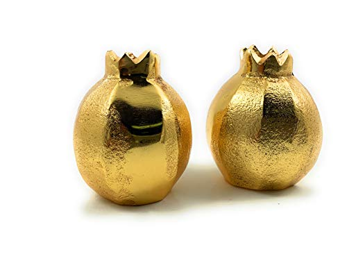Decorative Salt and Pepper Shakers Set Kitchen Table Decor Accents(Golden Pomegranate) 2.8 inches high