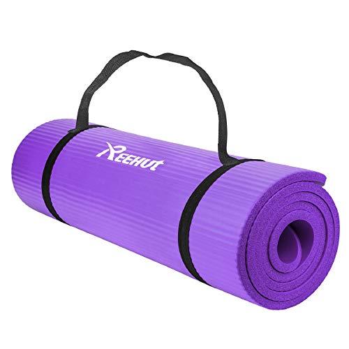Reehut Übungsmatte NBR Fitness Yoga Matten – 12 mm extra dick hochdichte Mehrzweck-Matte für Pilates, Fitness und Workout mit Tragegurt (lila)
