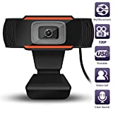 HD Webcam 1280 x 720p Streaming Web Camera with Microphones, Webcam for Gaming Conferencing & Working, Laptop or Desktop Webcam, USB Computer Camera