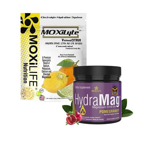 MOXiLyte Electrolyte Sport Hydration Powdered Drink Mix and MOXiLIFE HydraMag 100% Chelated Magnesium Supplement Bundle