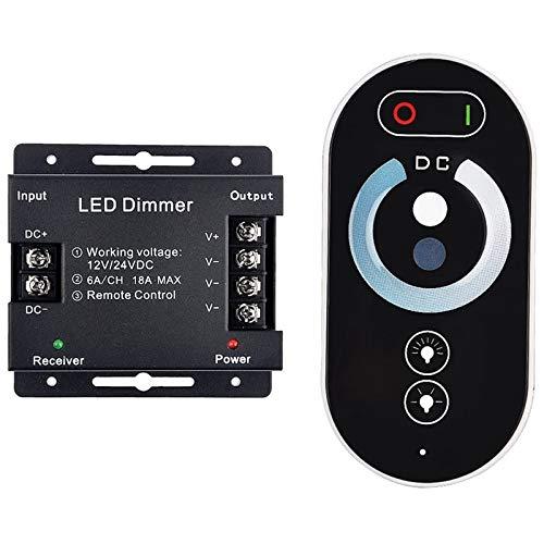 Mogzank Control de AtenuacióN de PresióN LED, Control InaláMbrico de RF Interruptor de AtenuacióN de Brillo LED, Regulador de Control Remoto de RF de 12 / 24V una 18A