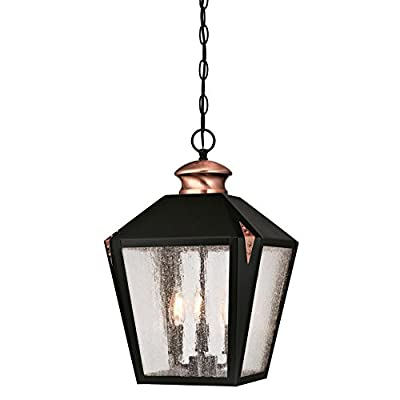 Westinghouse 6328400 Valley Forge Indoor Pendant, Matte Black Finish with Copper Accents, Two Light