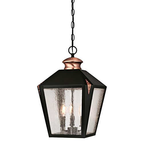 Westinghouse Lighting 6339100 Valley Forge Three-Light Outdoor Pendant, Matte Black Finish with Washed Copper Accents and Clear Seeded Glass