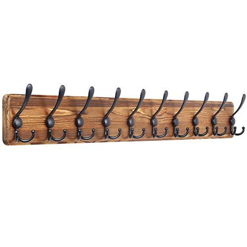WEBI Coat Rack Wall Mounted,38 9/16'' Long,10 Hooks,Wood Coat Hooks Wall Mounted,Coat Hanger Wall,Hook Rack Rail,Triple Hooks for Hanging Coats,Clothes,Jacket,Hats