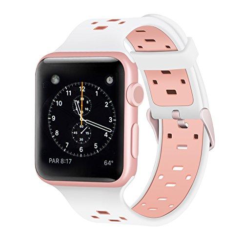 iBazal armbanden compatibel met iWatch Series 5 4 3 2 1 armband 44 mm 42 mm silicone horlogeband reserveband horlogeband reserveband heren horloge accessoires
