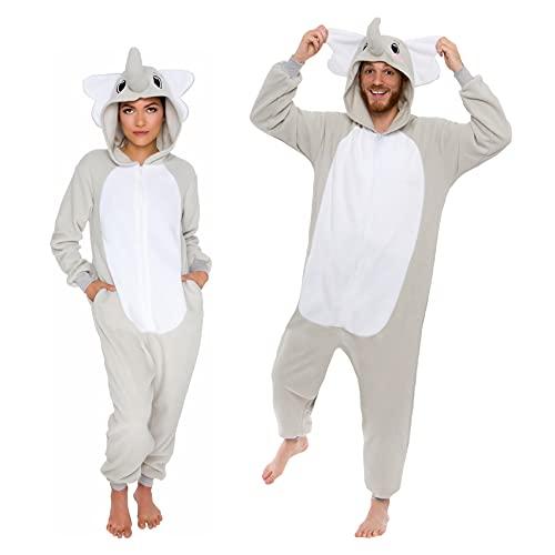 Slim Fit Animal Pajamas - Adult One Piece Cosplay Elephant Costume by...