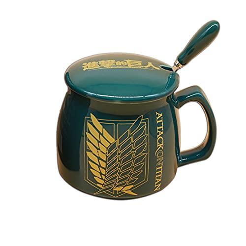 Yousheng 2021 Nueva Taza de cerámica, Taza de Taza de café a Domicilio-se Puede Utilizar en Horno de microondas con una Cuchara-Ataque en Titán Taza de cerámica Blanca Impresa (Color : Blue)