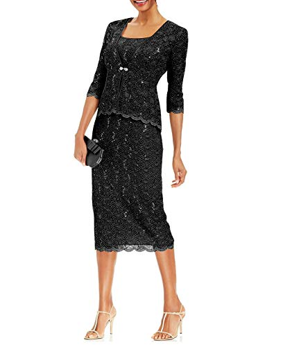 R&M Richards Womens 2 Piece Lace Swing Jacket Dress - Mother of The Bride Wedding Dresses (16, Black)