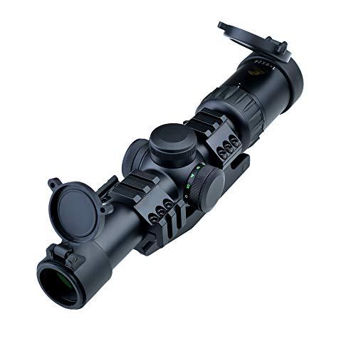 Eagle Eye Taktisches Zielfernrohr Robust und Stoßfest 1-6X24 (30mm) R/G Deutschland #4 Gläsern Absehen Rifle Scope Mit Integral Ring Taktisches Picatinny Weaver Schiene Montage