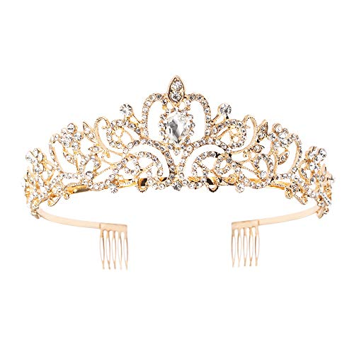 Crystal Tiara Crowns For Women Girls Gold Crystal Tiara Crown with Combs Women Headbands for Bridal Wedding Prom Birthday Party