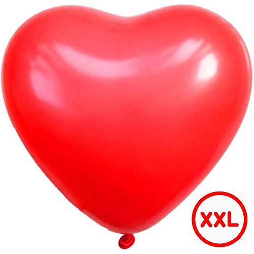 DIWULI, gigantischer XXL Herzballon, riesen Jumbo Luftballon in Herzform rot, Latex-Ballon, Herz-Ballon, Latex-Luftballon, roter Herzluftballon für Geburtstag, Hochzeit, Dekoration, Liebe, Love