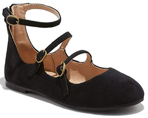 Cat & Jack Girls' Valera Strappy Metallic Ballets Flats (13, Black)