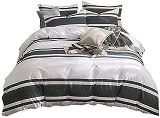 Lausonhouse Duvet Cover Set,100% Cotton Yarn Dyed Stripe Bedding Set,3 Pieces (1 Duvet Cover with 2 Pillowshams)- Queen - Grey