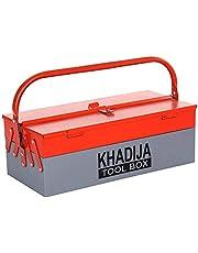 KHADIJA Metal 3 Compartment Tool Box (Red Grey)