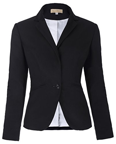 OL Lady Blazer Jacket Coat for Women Lapel Collar (L, Black)