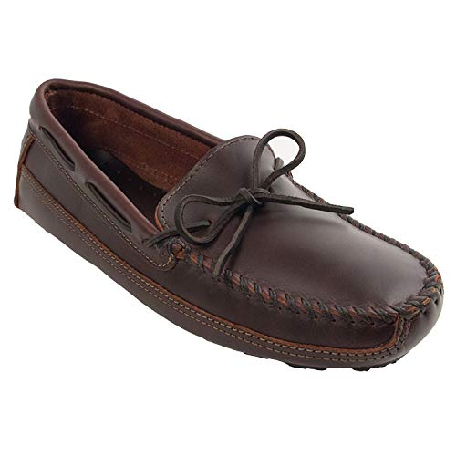 Minnetonka Men's Double Bottom Cowhide Driving Moc Mocassins, Brown (Brown), 9.5 F M US