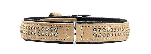 HUNTER SOFTIE DELUXE Hundehalsband, Kunstleder, glitzernde Strasssteine, 40 (XS-S), beige