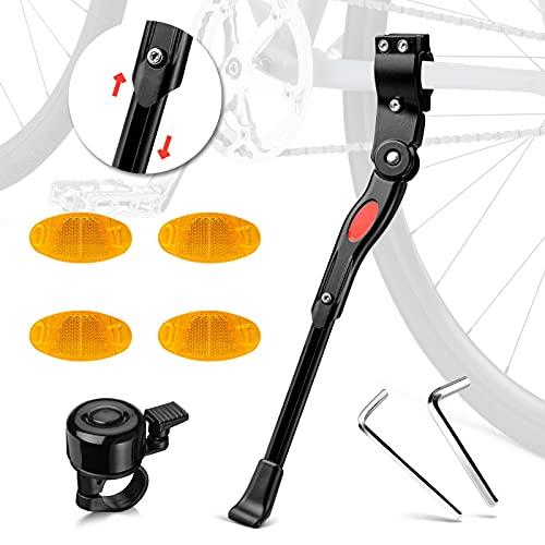 Tailiqi Fahrradständer für 24-28 Zoll, Seitenständer Faltbarer Höhenverstellbarer Fahrrad Ständer mit Anti-Rutsch Gummifuß Aluminiunlegierung für Mountainbike, Rennrad, Fahrräder und Klapprad