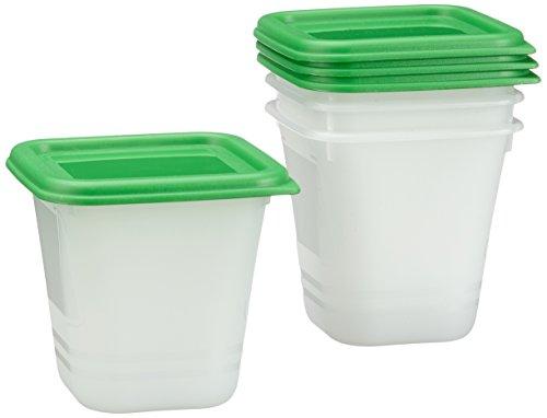 Rotho Domino 4er-Set Vorratsdosen , Kunststoff (BPA-frei), transparent/grün, 4 x 0.22 Liter (8 x8 x 7,5 cm)