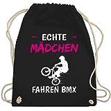 Fahrrad Bekleidung Radsport - Echte Mädchen fahren BMX - Unisize - Schwarz - Echte Frauen fahren BMX - WM110 - Turnbeutel und Stoffbeutel aus Baumwolle