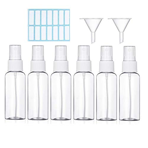 Sprühflasche, Transparente Leere Sprühflasche mit Zerstäubereffekt, 6 x Parfümzerstäuber Zerstäuber Flaschen aus 100 ml Plastik, Tragbares Reiseflaschen Set mit 2 x Trichter und 1 x Etikett