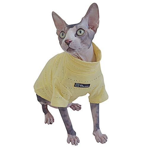 SAKEGiiin Ropa de Sphynx para Gato, Gato sin Pelo Clásico de algodón Transpirable de Verano para la Ropa de Mascotas, Cornish Rex,Devon Rex,Peterbald Ropa para Gatos y Perros pequeños (XXL)