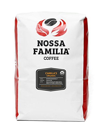 Organic Med-Dark Italian Roast Coffee, Camila's 5lb Whole Bean