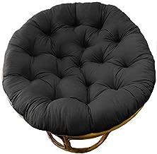 COTTON CRAFT Papasan Chair Cushion Black, Pure 100% Cotton Duck Fabric, Fits Standard 45IN rnd Chair