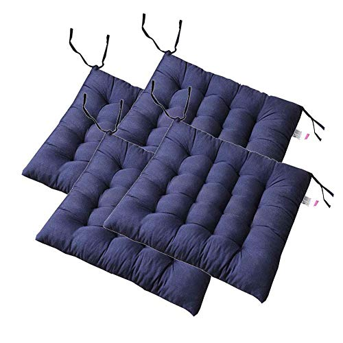 XNDCYX Chair Cushion Seat Pads, Indoor/Outdoor Wicker Seat Cushions, Patio Furniture Cushions with Ties for Non Slip, Comfort and Softness, Home Cushion, Square Filled,Navy Blue,4 Pack