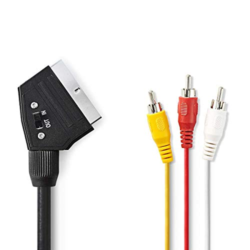 NEDIS SCART-Kabel SCART-Kabel | SCART Stecker | 3X Cinch-Stecker | Vernickelt | Schaltbar | 480p | 1.00 m | rund | PVC | Schwarz | Plastikbeutel 2.00 m 2.00 m