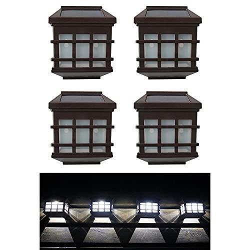 Cockroach 4 unidades de lámparas solares para exteriores, con diseño de cristales, para la lluvia, para el jardín, para el patio o la valla (luz blanca)