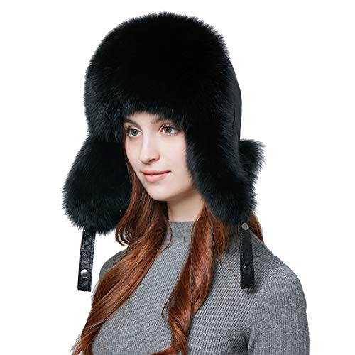 Winter Men Real Fox Fur Hat Genuine Leather Russia Aviator Hats Lamb Leather Caps Bomber Hat Ushanka by BeFur