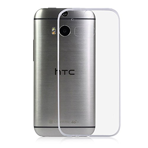 HTC One M8 Case, iCoverCase Ultra-Thin Silicon Back Cover Clear Plain TPU Rubber Skin Case for HTC One M8