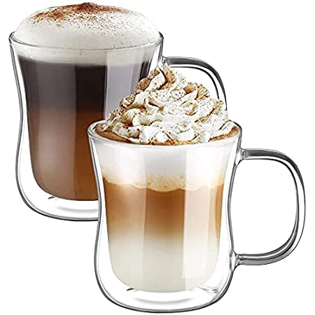 Ecooe 350ml*2 Tasse Verre Double Paroi Ensemble,Tasses à Latte Macchiato en Verre Transparent,Verre à Café/Thé avec Poignée