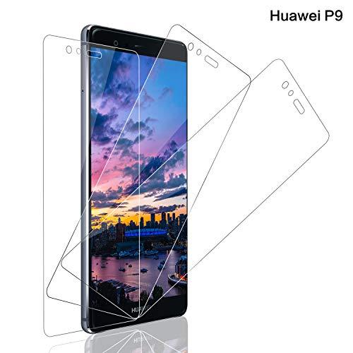 SNUNGPHIR® Cristal Templado Huawei P9, [3-Pack] Protector Pantalla Huawei P9 Cristal Templado [2.5d Borde Redondo] [9H Dureza] [Alta Definición] [Anti-Arañazos] [Anti-Huella Digital]