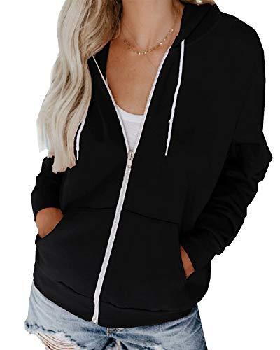 Hiistandd Damen Hoodies Casual Langarm Sweatshirt V-Ausschnitt Pullover Strickjacke Reißverschluss Tops mit Taschen