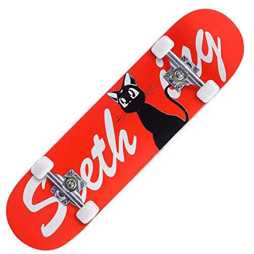 N/Y Skateboard-Komplett-Skateboards für Anfänger, Kinder, Jungen, Mädchen, Erwachsene, Jugendstandard-Skateboards mit 7 Lays, Ahorn-Deck Pro Skateboards, Longboard-Skateboards (kleine rote Katze)