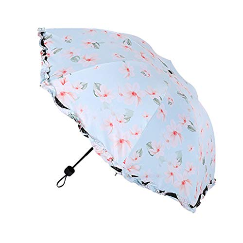BOENTA Paraguas Plegable PequeñO Paraguas Antiviento Paraguas de Las señoras Paraguas para Las Mujeres Sombrilla de Playa protección UV Blue,One Size