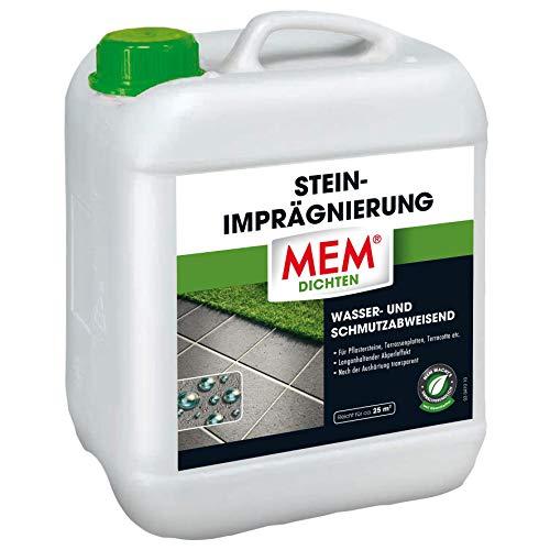 MEM Stein-Imprägnierung - 5 L - Wasserabweisend – Schmutzabweisend – Abperleffekt – Transparent - Imprägniert Pflastersteine, Terrassen, Terracotta, Ton, Klinker
