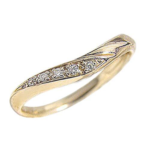 [ジュエリーアイ]Jewelry i Vライン ダイヤモンドリング ピンキーリング イエローゴールドK18 レディースリング 単品 結婚指輪 ブライダル ギフト 9号