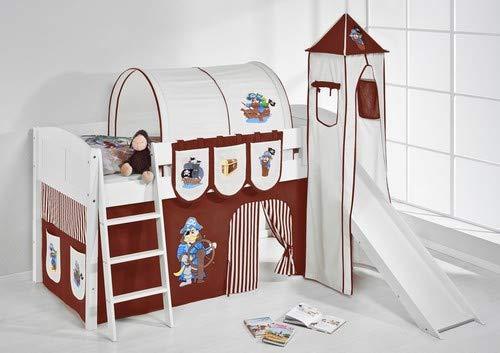 Lilokids Spielbett IDA 4106 Pirat Braun Beige-Teilbares Systemhochbett weiß-mit Turm, Rutsche und Vorhang Kinderbett, Holz, 208 x 220 x 185 cm