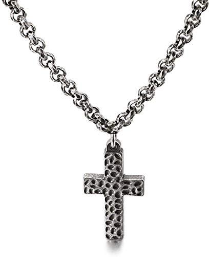 NC188 Joyería Religiosa Retro Personalidad Coreana Collar Cruzado de Acero Inoxidable Pulsera de Titanio de Tendencia para Hombre