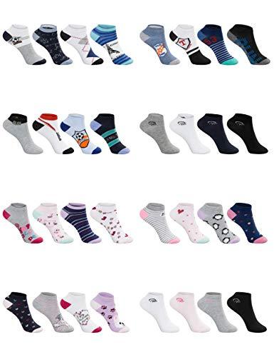 SG-WEAR 12 paar kindersneakersokken voor jongens & meisjes kindersokken met een hoog aandeel katoen voeten in verschillende motieven/sneaker sokken in maat 23-26, 27-30, 31-34, 35-38