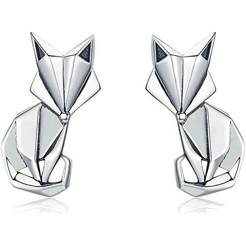 lanyuedianti Pendientes Pendientes de Zorro de Origami Animal Lindo Pendientes de Plata 925 Pendientes de Temperamento de Moda